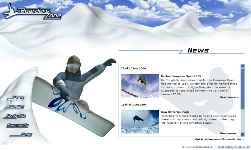 "BoardersZone – Flash Web Design with 3D Animaiton ""News"" Page"