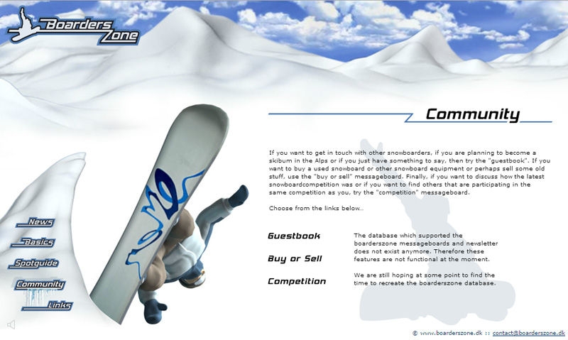 "BoardersZone – Flash Web Design with 3D Animaiton ""Community"" Page"
