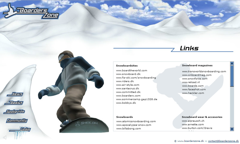 """BoardersZone – Flash Web Design with 3D Animaiton """"Links"""" Page"""