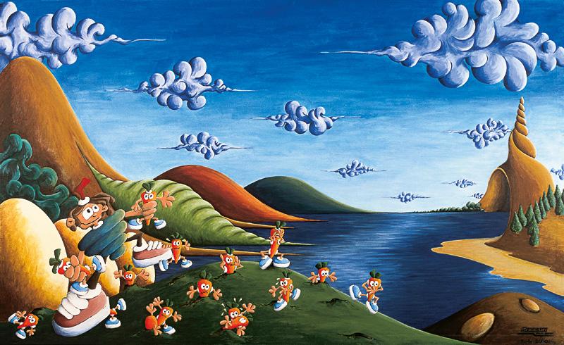 Tale of Carrots - acrylic on canvas - 170 x 100 cm
