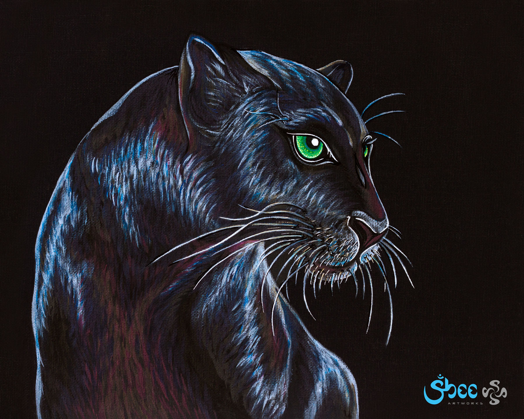 Retro Black Panther - acrylic on canvas - 35 x 28 cm