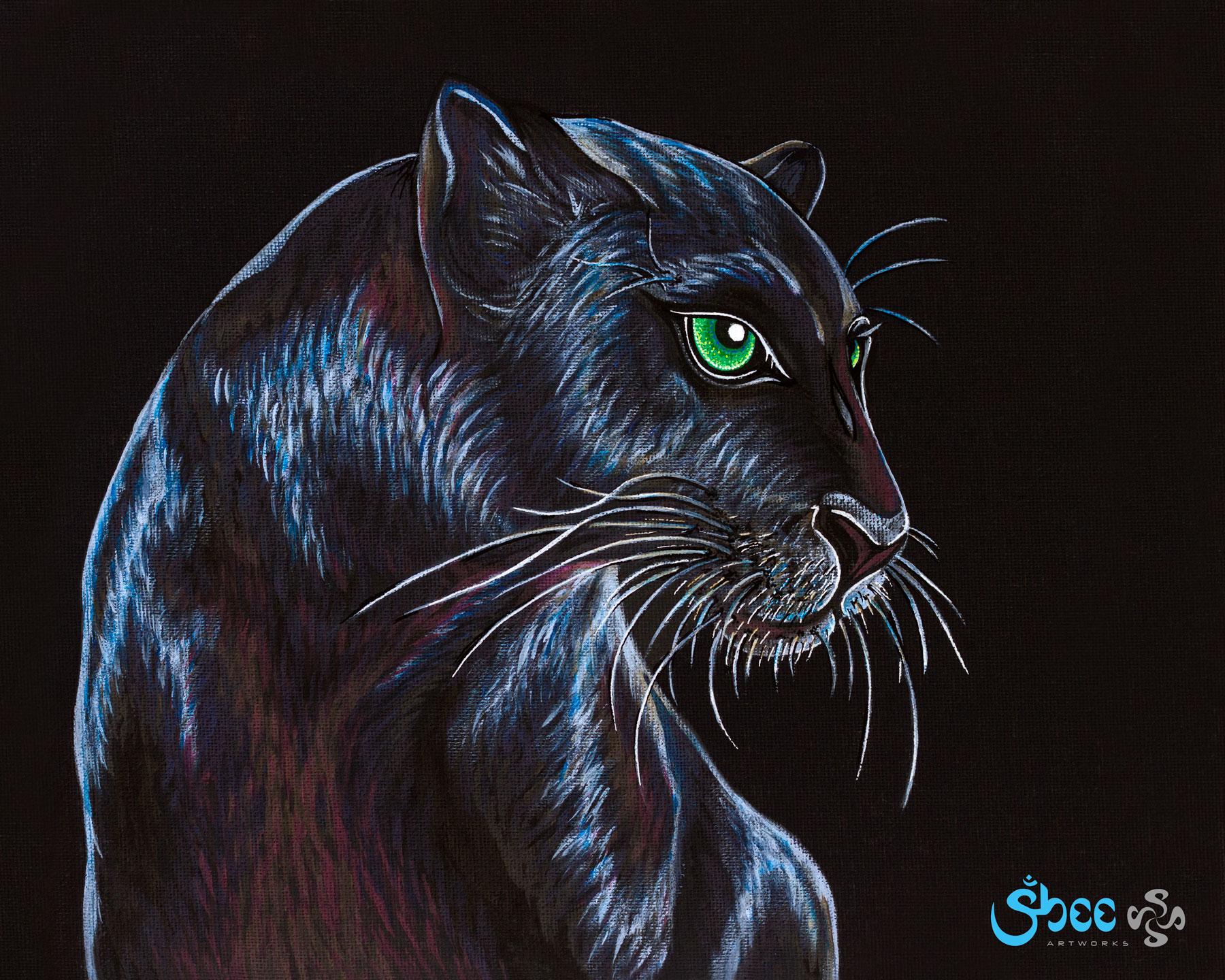 Retro Black Panther - acrylic on canvas - 35 x 28 cm