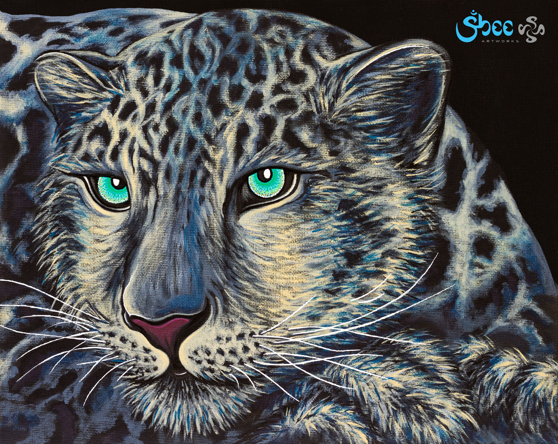 Retro Snow Leopard - acrylic on canvas - 35 x 28 cm