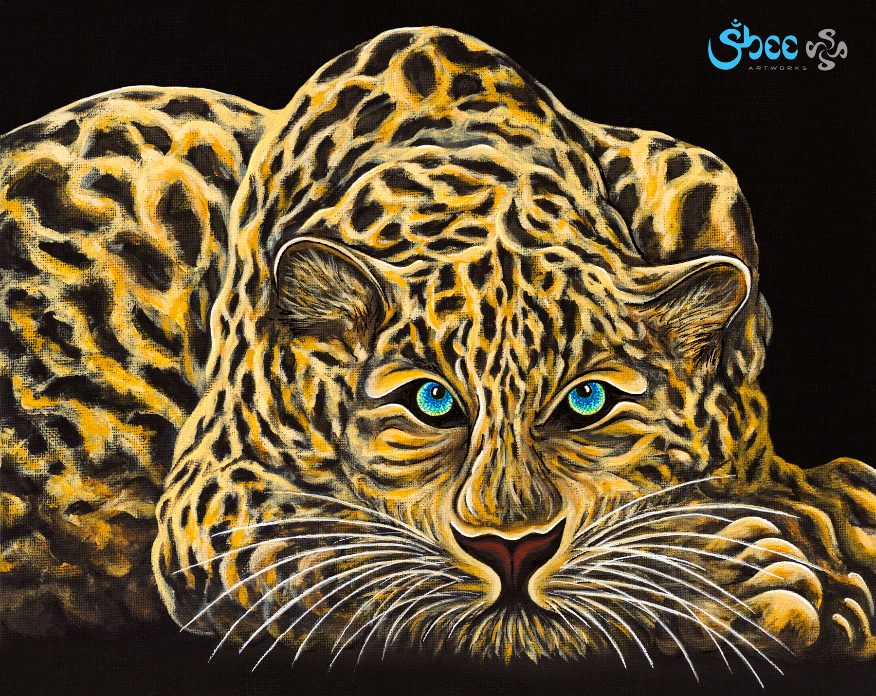Retro Leopard - acrylic on canvas - 35 x 28 cm