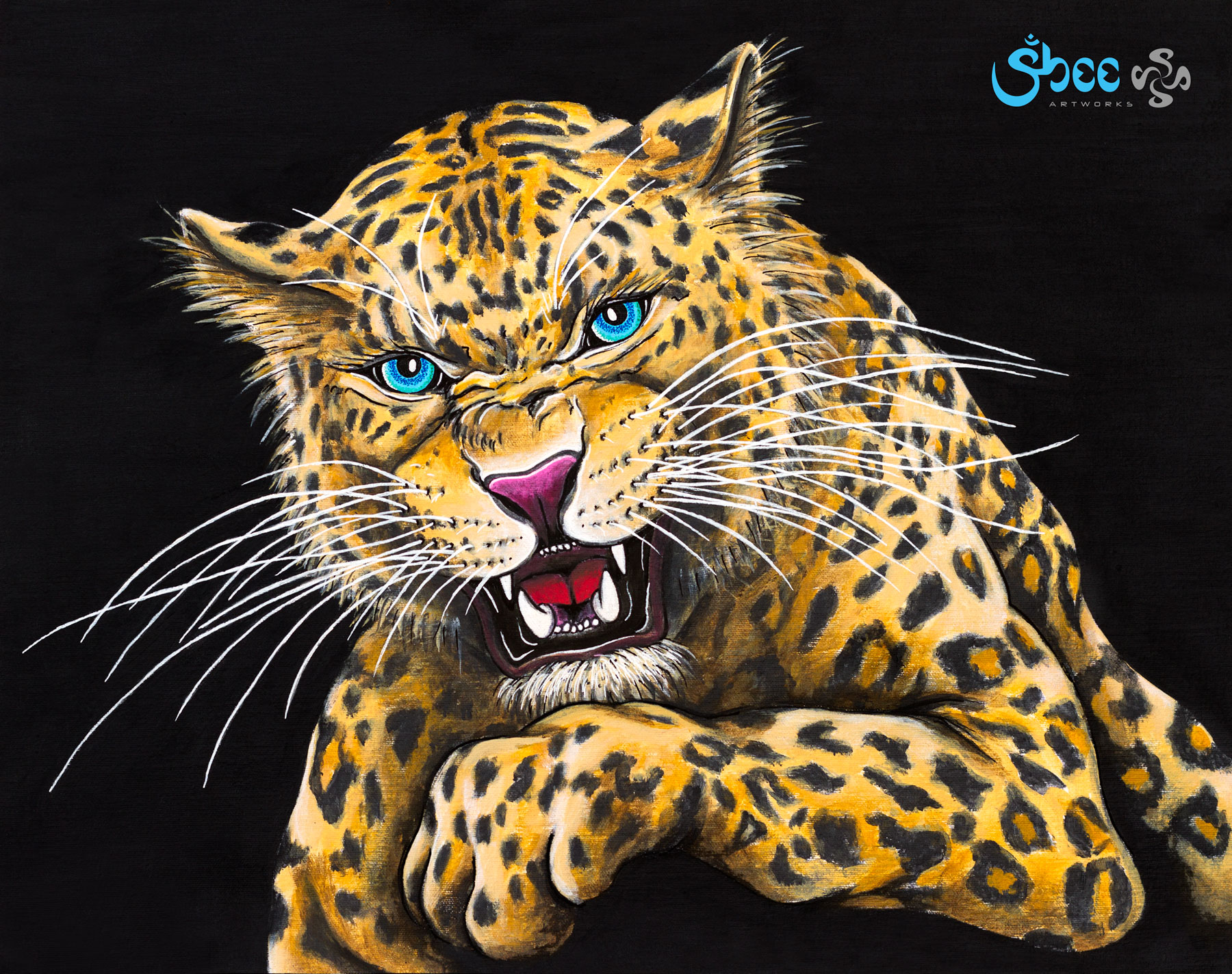Retro Jaguar - acrylic on canvas - 35 x 28 cm