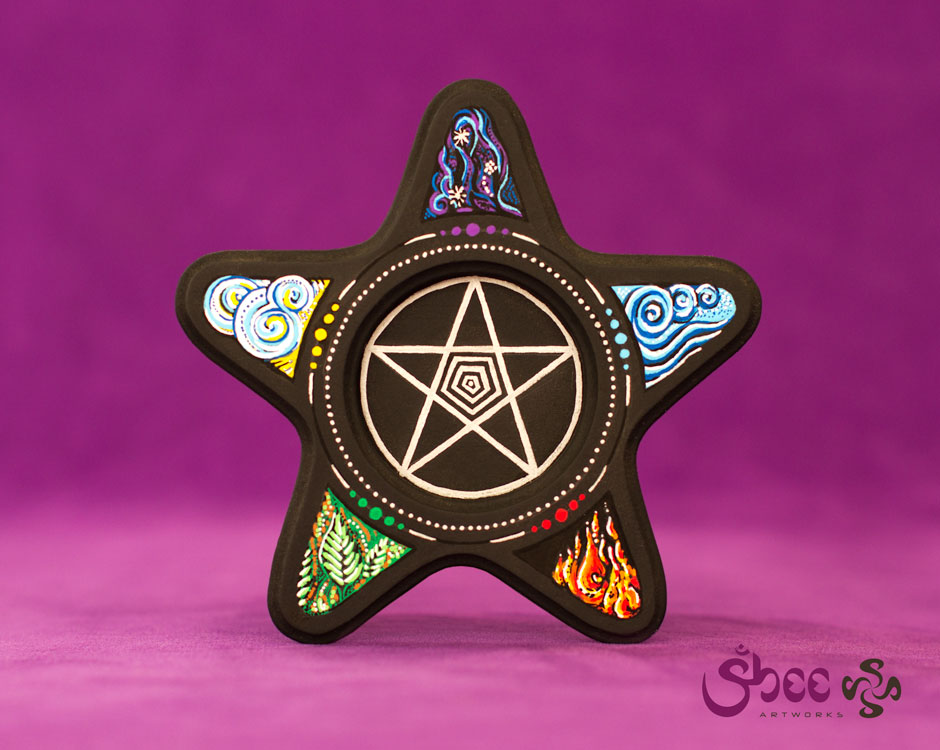 Pentagram Star with Elements – acrylic on wood – 12 x 12 x 3 cm