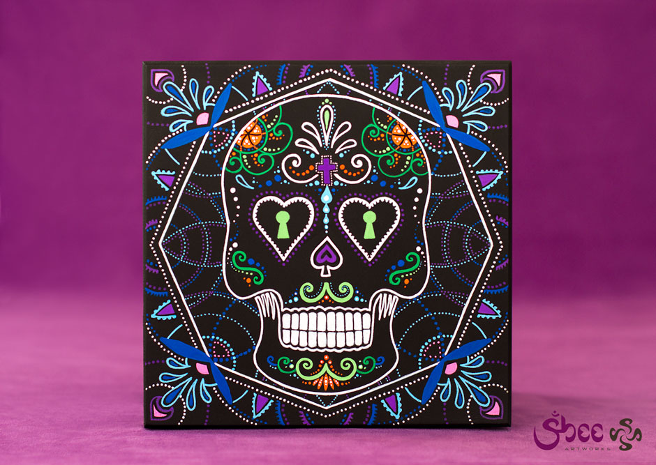 Mexican Art – Calavera – Dia de Los Muertos – acrylic on wood – 19 x 19 x 6 cm