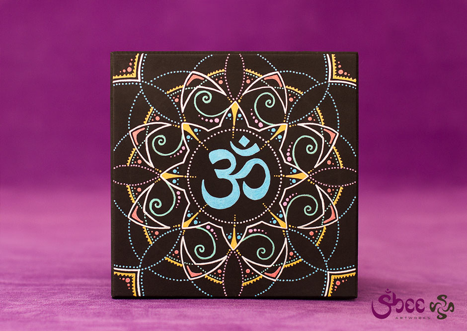 Metallic Om Mandala – acrylic on wood – 14 x 14 x 8 cm