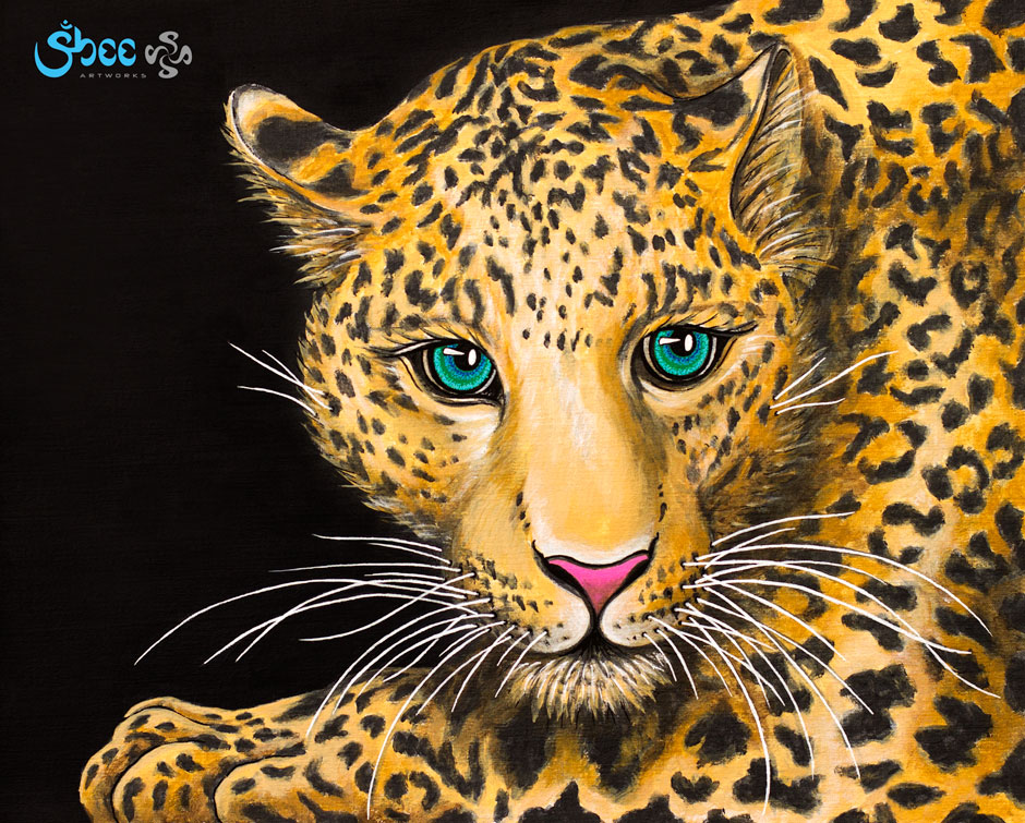 Retro Leopard – acrylic on canvas – 35 x 28 cm
