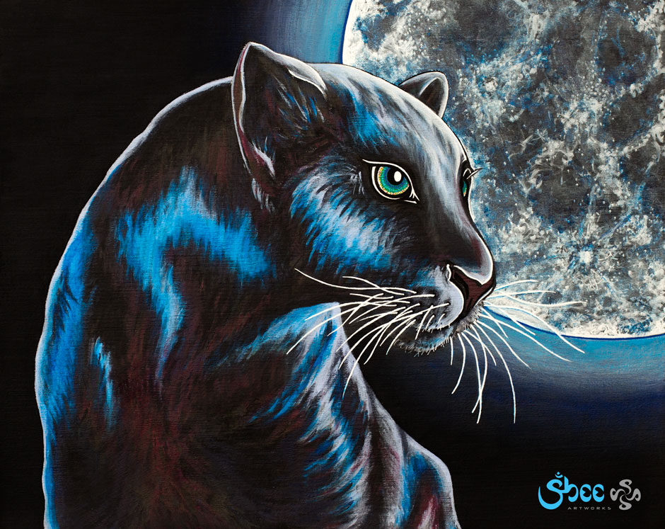 Retro Panther with Moon – acrylic on canvas – 35 x 28 cm