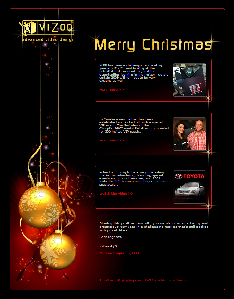 viZoo Advanced Video Design - Christmas Newletter