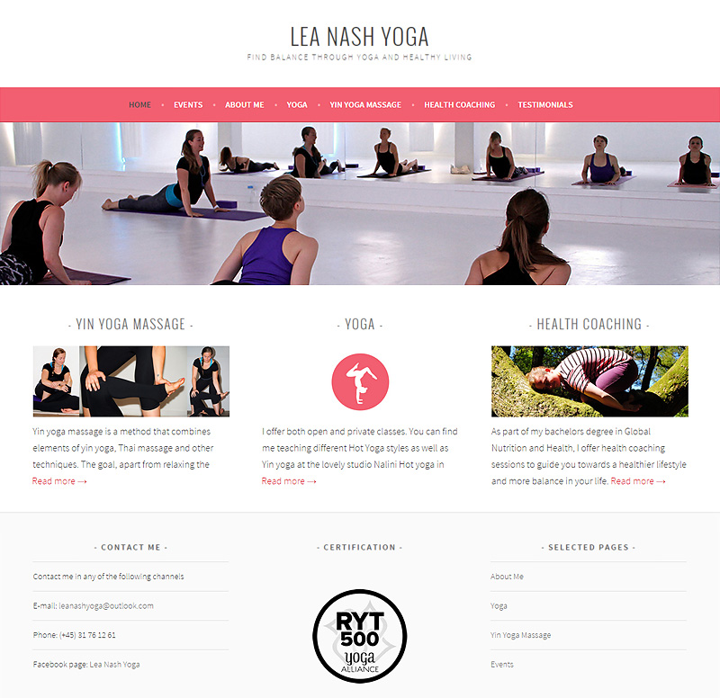 Lea Nash Yoga - Web Design